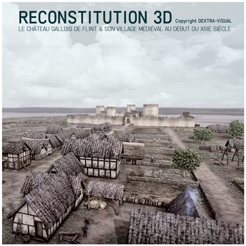 chateau_fort_flint_village_medieval_reconstitution_3D_moyen-age_Pays-de-Galles_XIVe_siecle