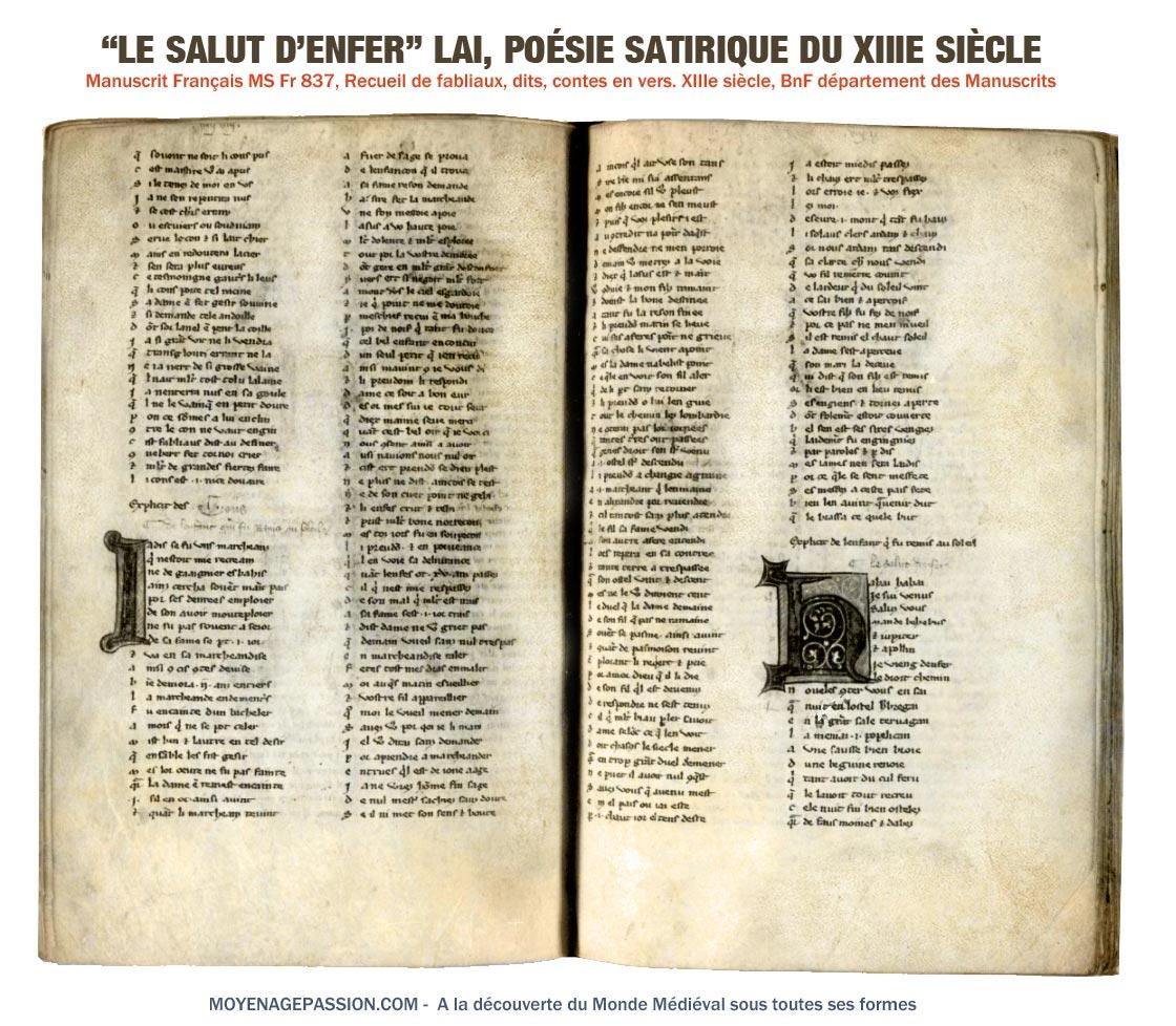 Le Salut d'enfer, dans le manuscrit MS Fr 837, de la BnF, département des manuscrits