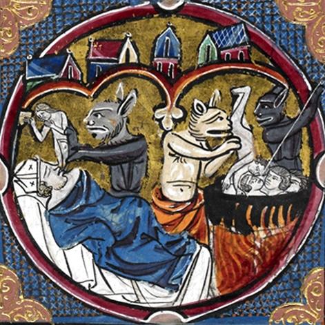 poesie_satire_enfer_medieval_bible_enluminure_manuscrit_MS_harley_1526_XIIIe_siecle