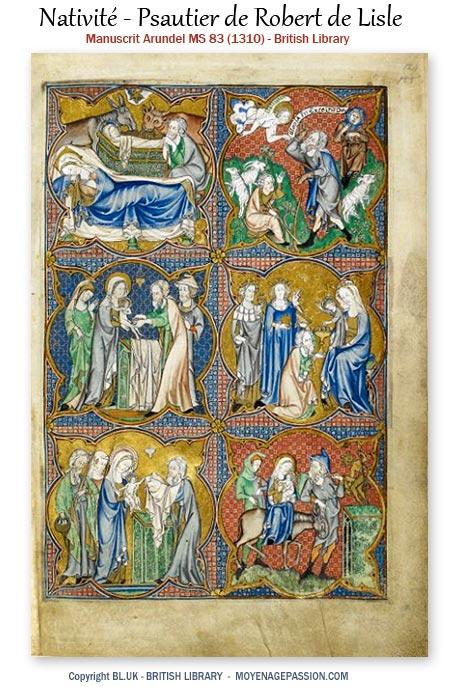 manuscrit-ancien-enluminure-noël-Psautier-moyen-age