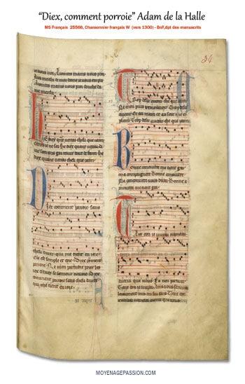 adam-de-la-halle-rondeau-chanson-medievale-diex-coment-porroie-ms-français-25566-moyen-age-s