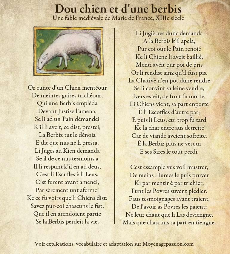 fable-medievale-ysopet-marie-de-france-chien-berbis-moyen-age-vieux-francais-oil