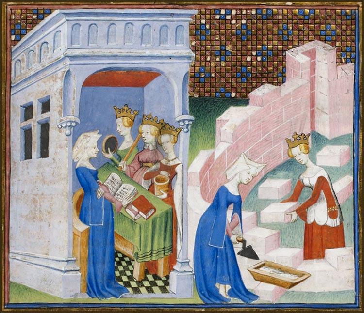 Christine de Pizan cité des dames, miniature médiévale
